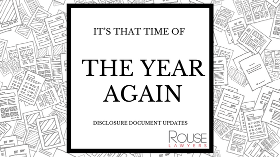 IT'S THAT TIME OF THE YEAR AGAIN – DISCLOSURE DOCUMENT UPDATES